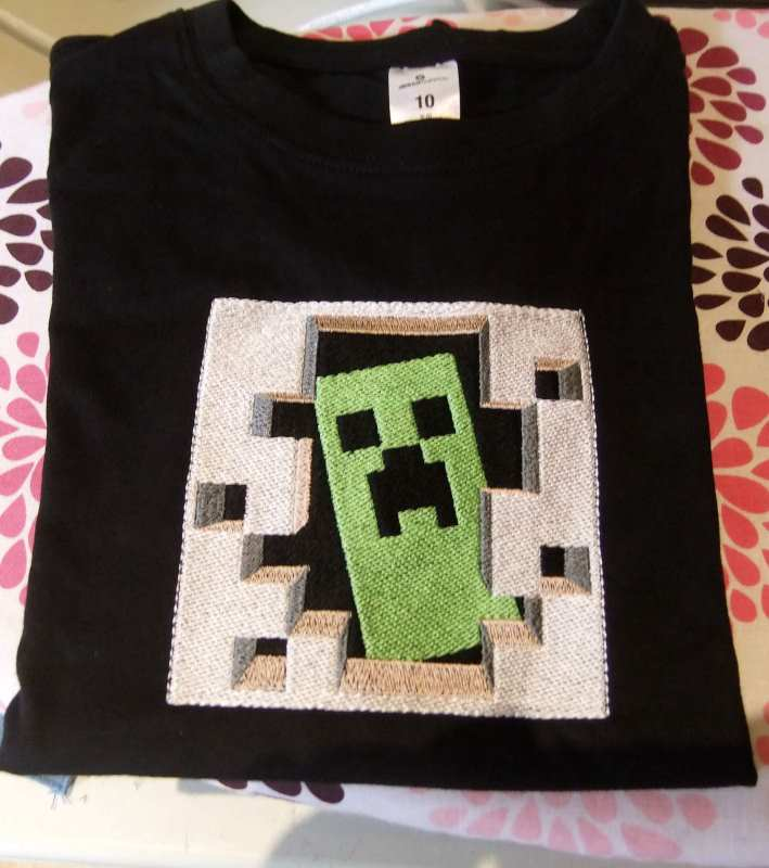 t-shirt with Minecraft Creeper embroidery design