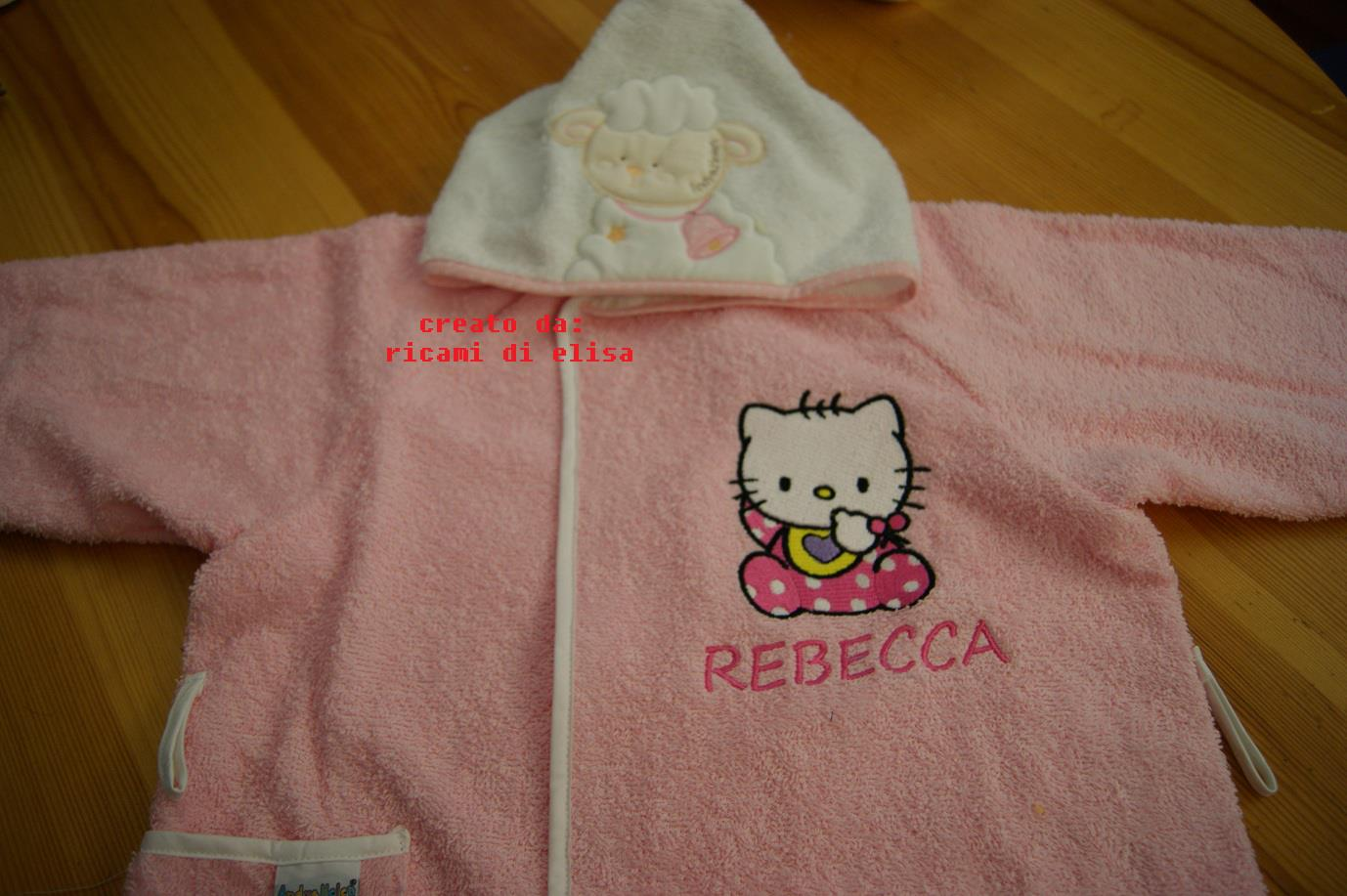 Hello kitty on embroidered bathrobe