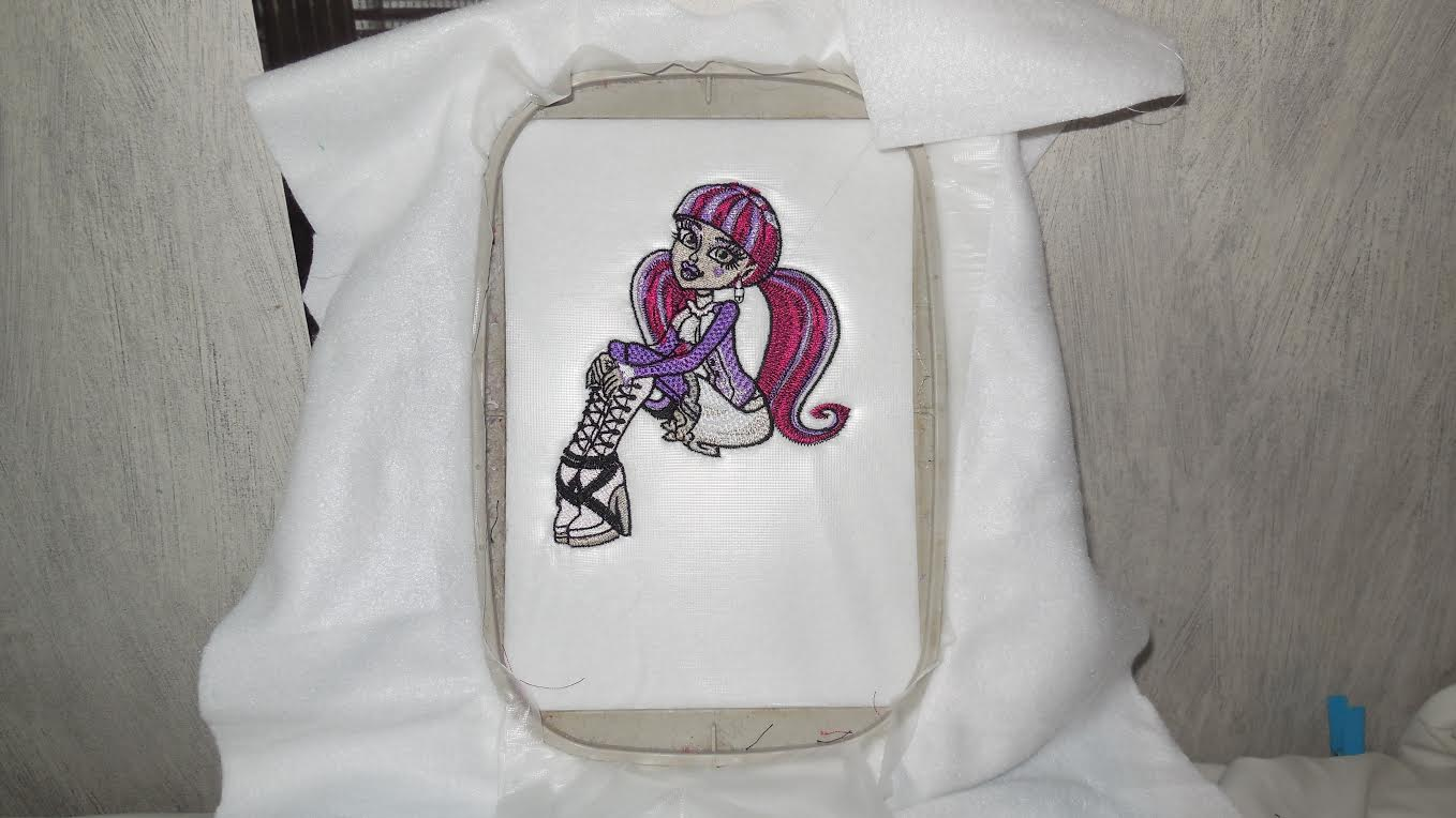 Monster High Draculara relaxed design in embroidery hoop