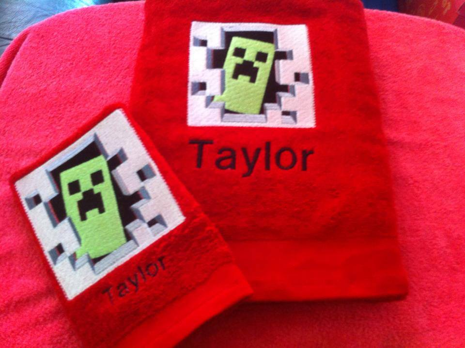 Minecraft Creeper embroidered on bath towel