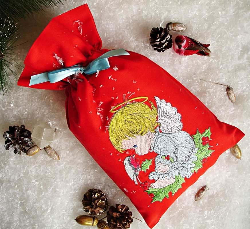 Embroidered red cotton Christmas bag
