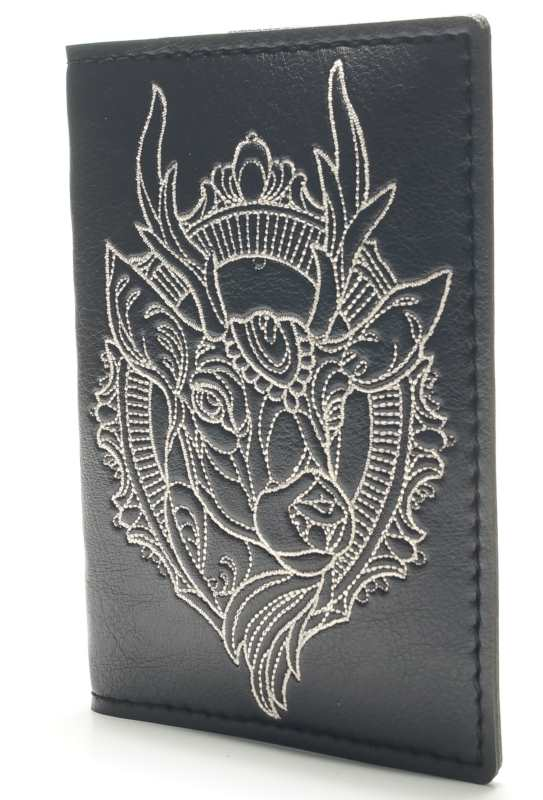 Embroidered leather id wallet with deer design
