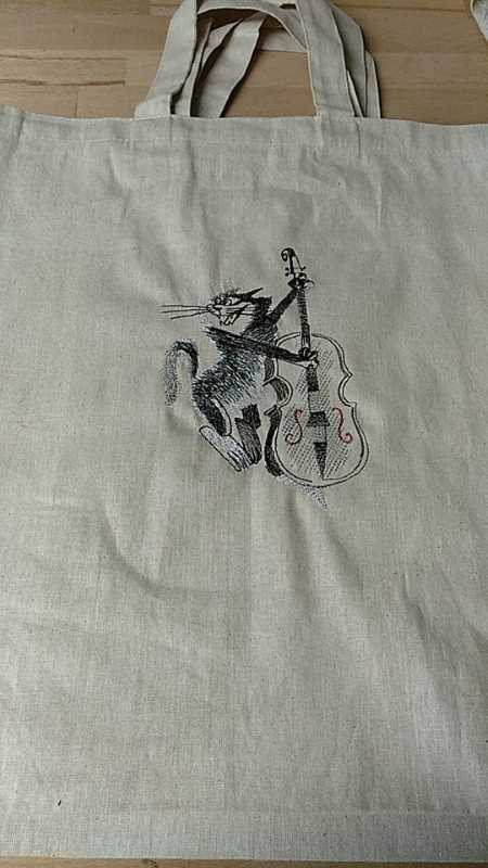 Shopping bag with cat musician free embroidery design