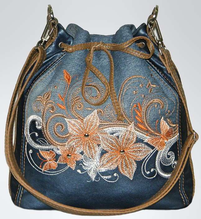 Denim bag with flowers embroidery design