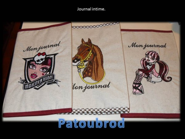 Girls from Monster High embroidered on book covers