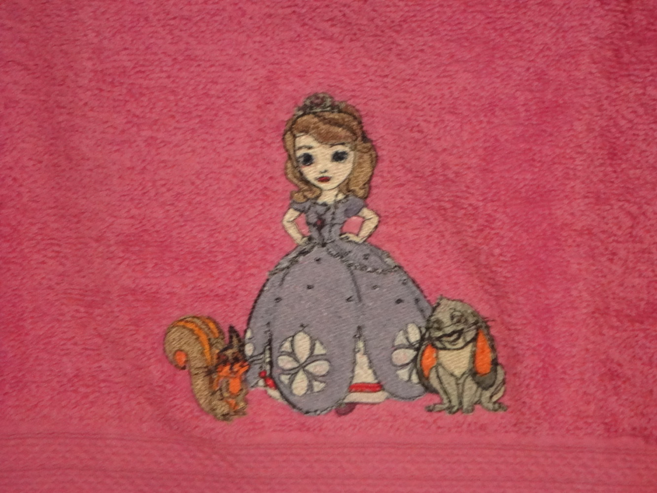 Embroidered Sofia with pets design on towel