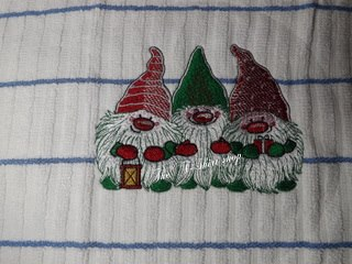 Dwarves embroidery design on towel
