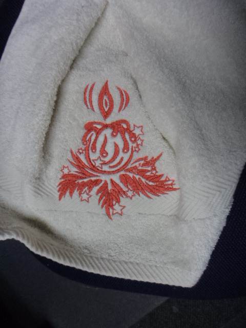 Christmas Candle on towel embroidered