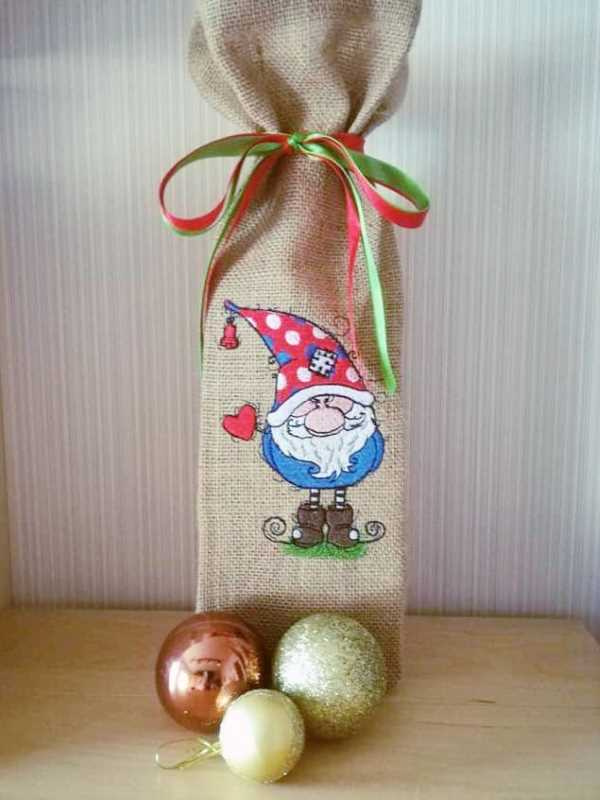 Bag with Christmas gnome embroidery design