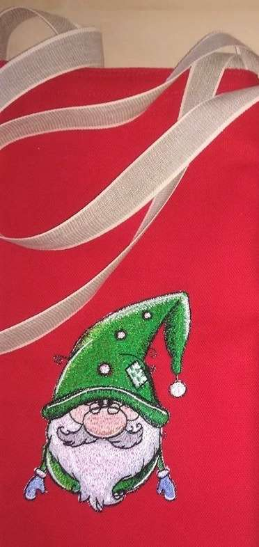 Embroidered Christmas gnome design