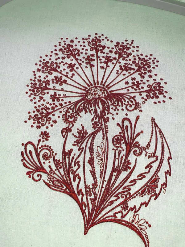 Dandelion dark red embroidered design