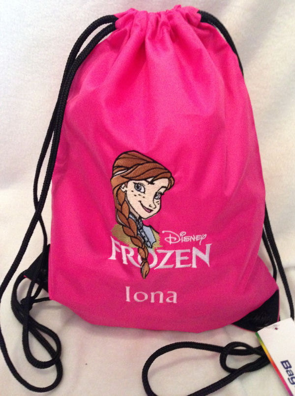 Anna Frozen design on bag embroidered