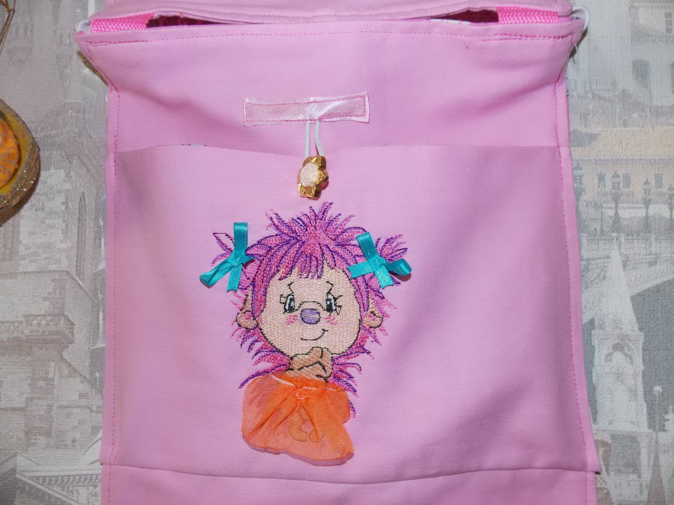 Pink hedgehog design embroidered