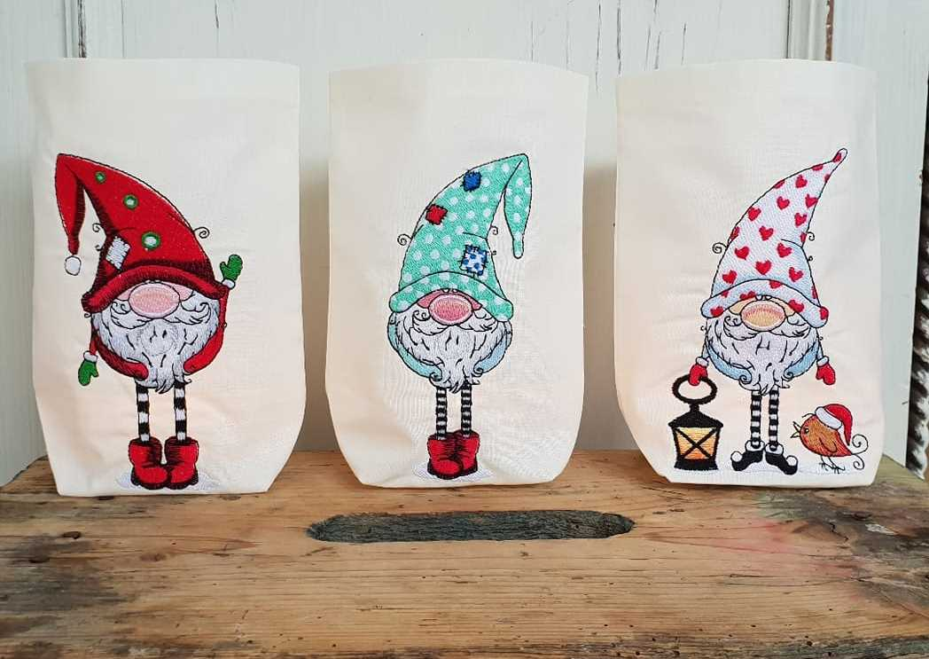 Funny gnomes embroidery designs