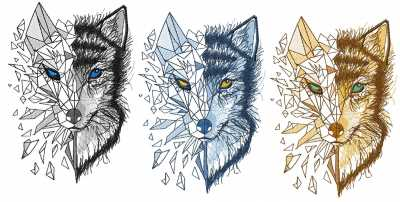 Colors variant for mosaic wolf embroidery design