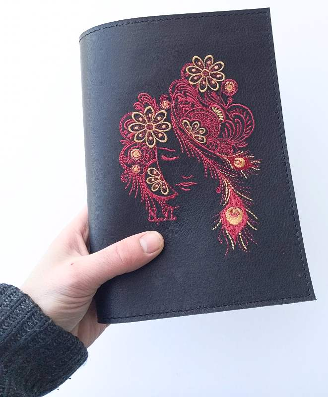 Leather diary cover with firebird embroidery design