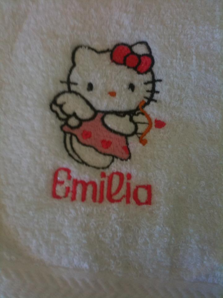 Hello Kitty cupid design on embroidered towel