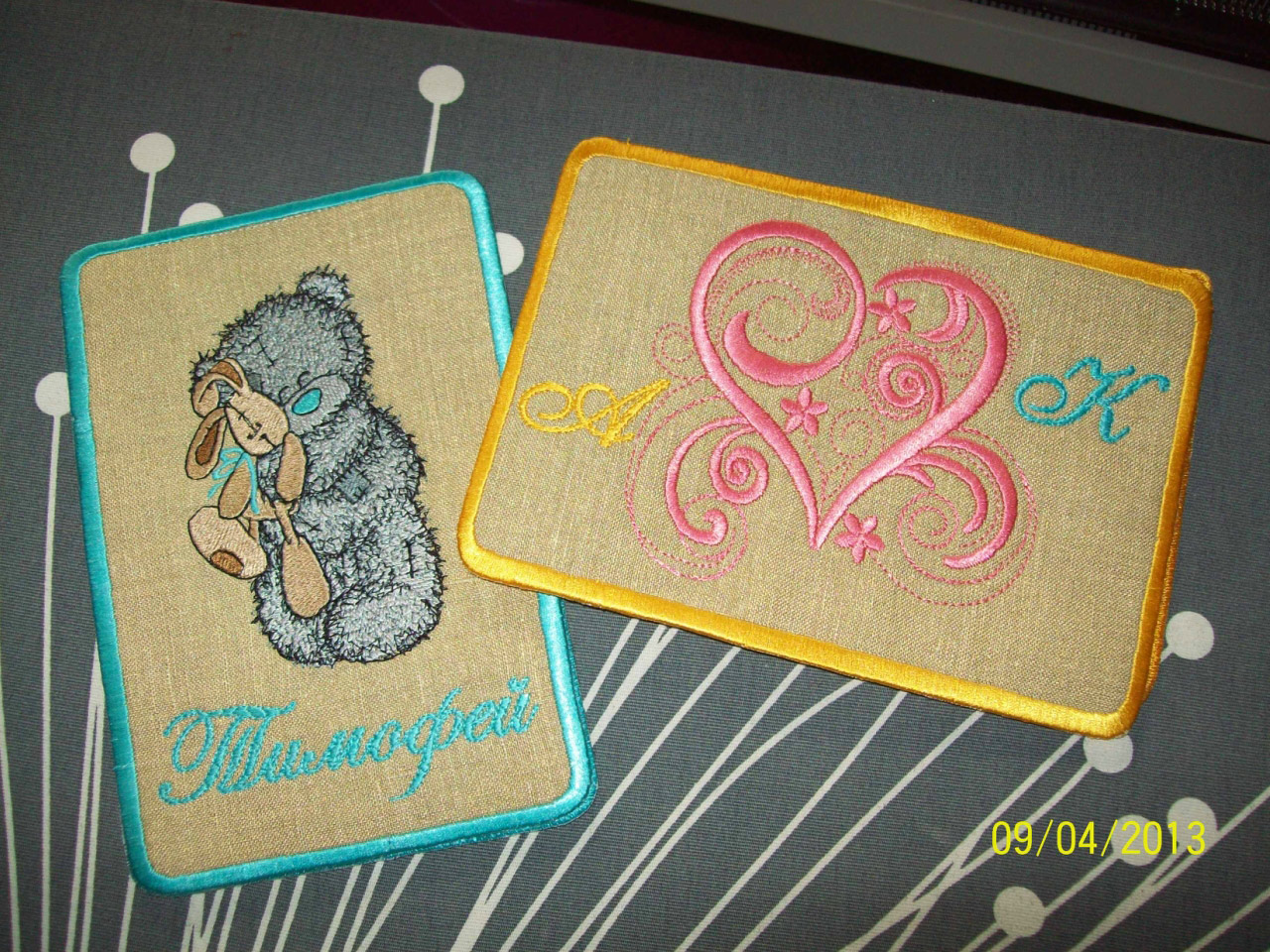 Teddy bear with toy design on embroidered newborn cover