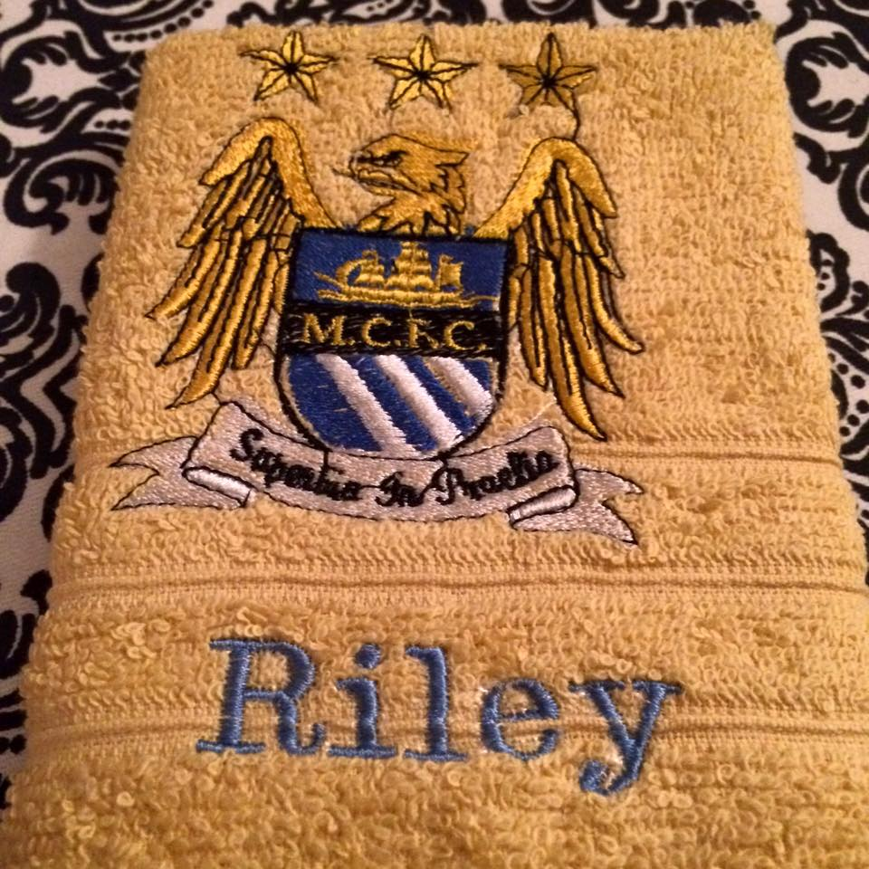 Manchester City Football Club design on towel embroidered