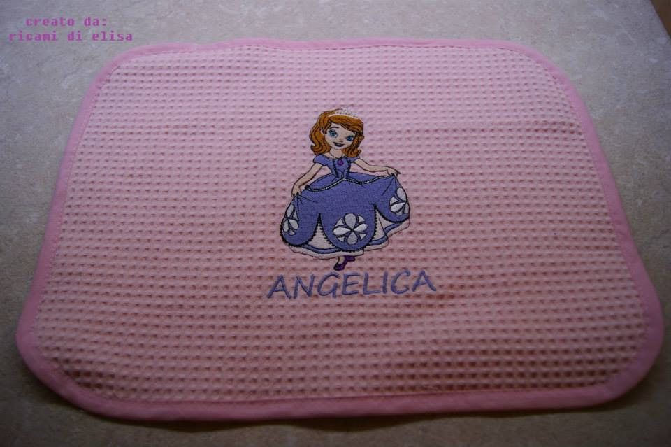 Sofia The First on embroidered pink potholder