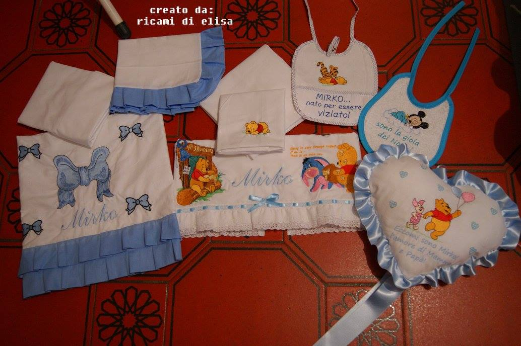 Disney heroes embroidered on baby bibs and small pillowcase