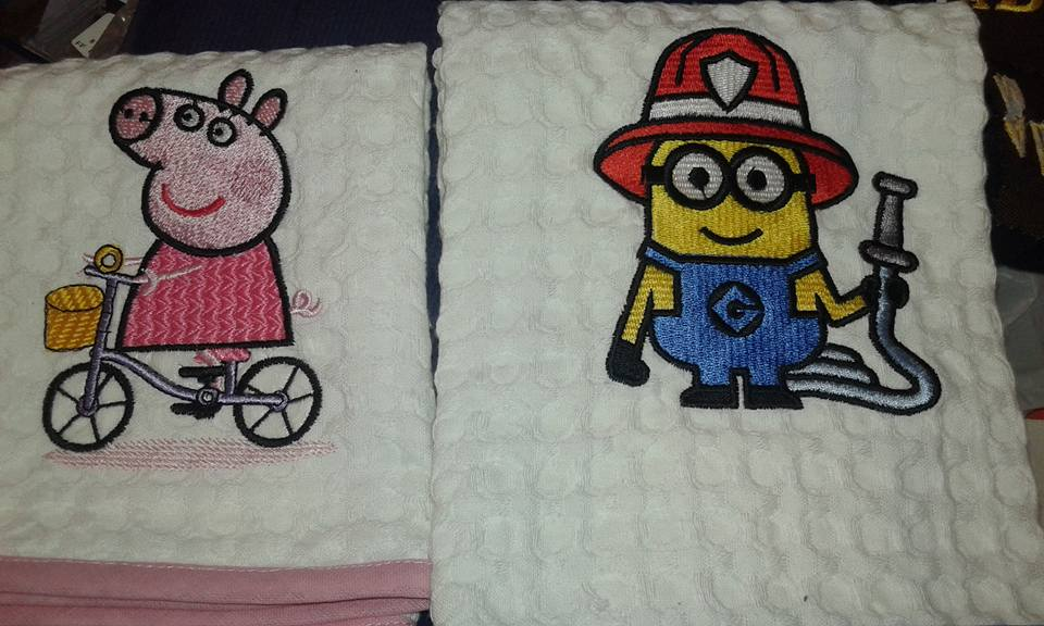 Peppa and Minion the fireman embroidered on towels