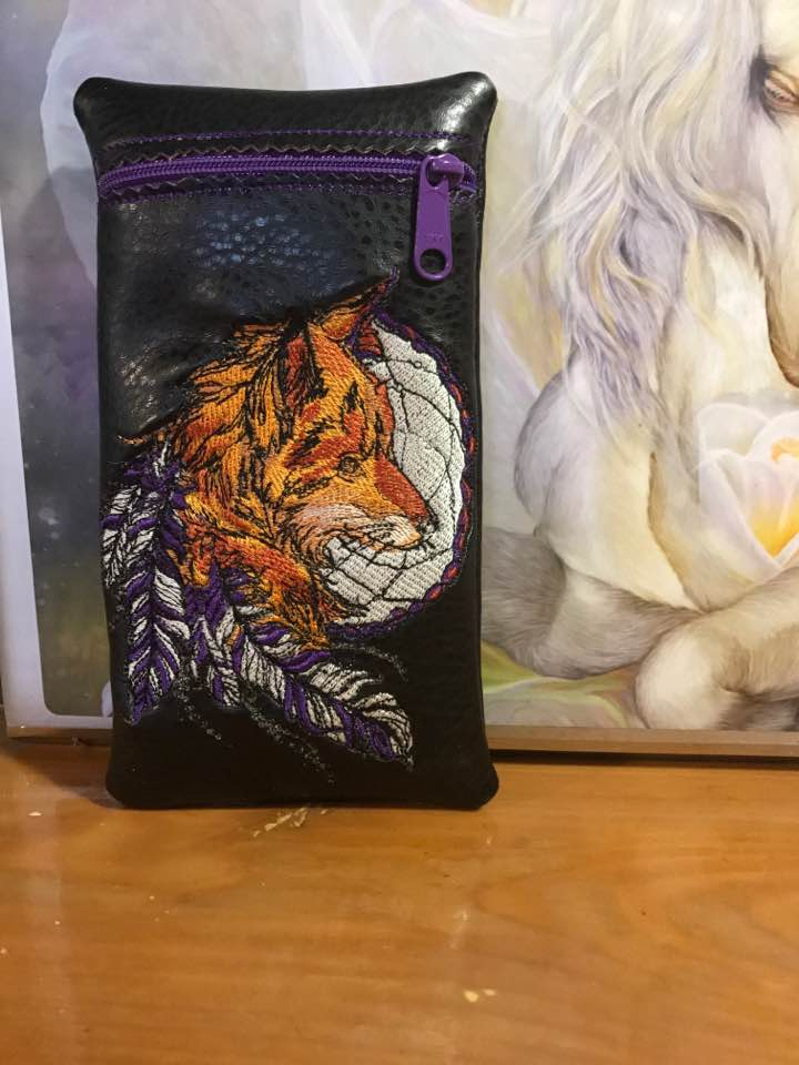 Leather case with Fox dreamcatcher embroidery design