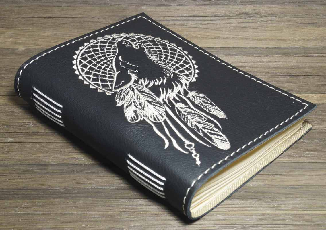 Notepad cover with wolf dreamcatcher embroidery design