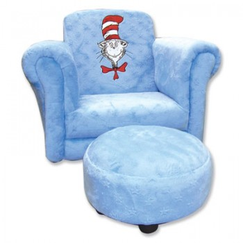 Arm chair embroidered with Dr Seuss cat design