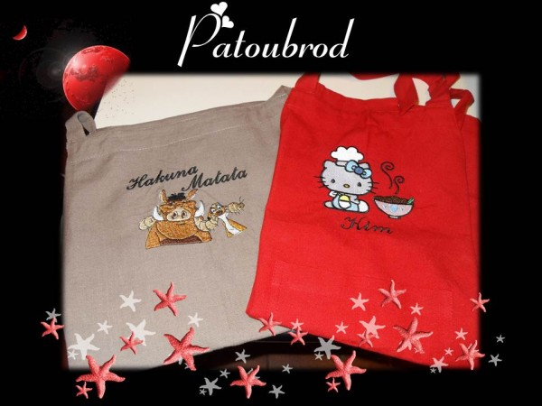 Hello Kitty, Timon and Pumba on embroidered bags