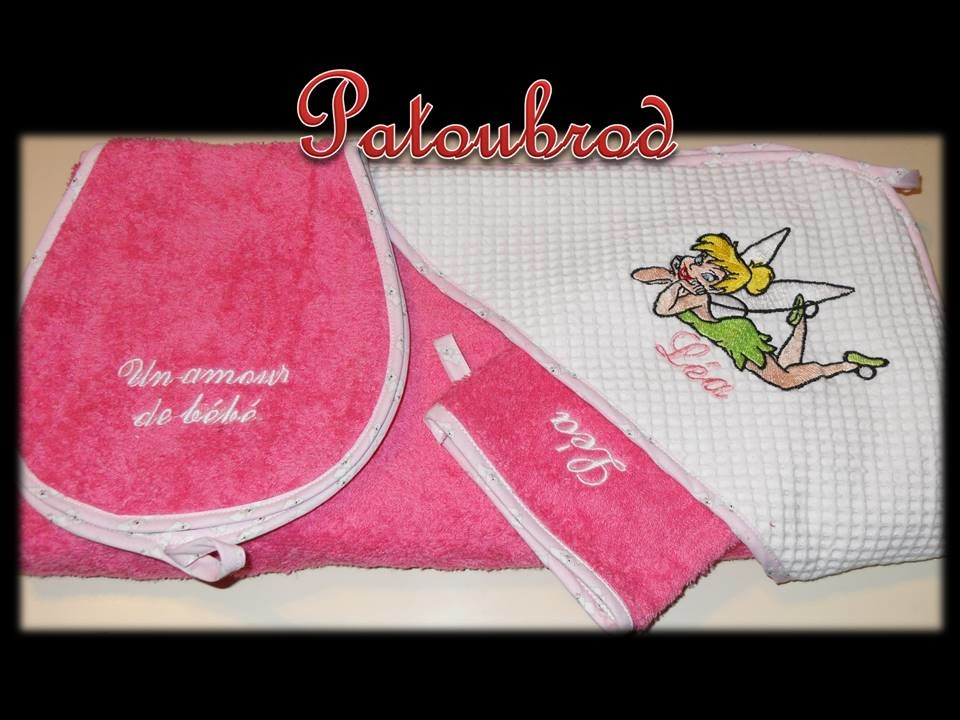 Pink towel with embroidered fairy