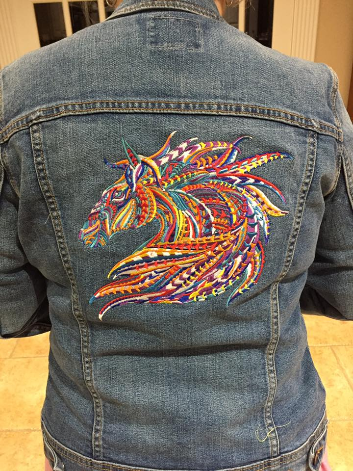 Denim Jacket with Mosaic horse embroidery design