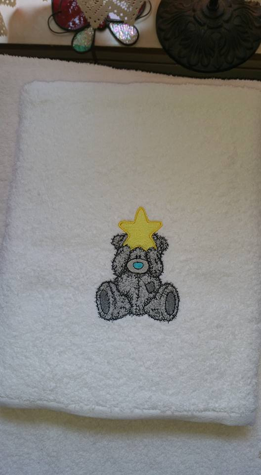 Towel with Teddy bear Christmas embroidery design