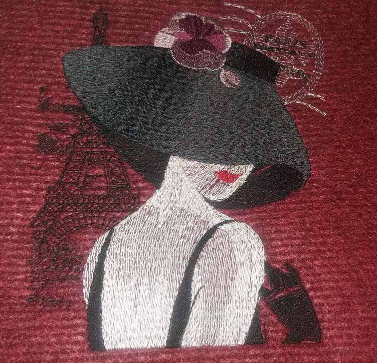 French lady embroidery design at velvet