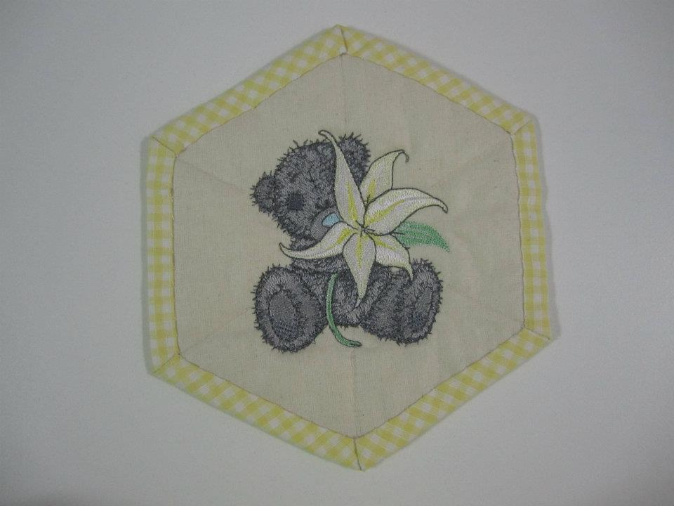 Teddy bear with lily design embroidered