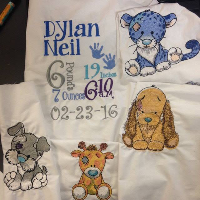 Blue nose friends designs embroidered