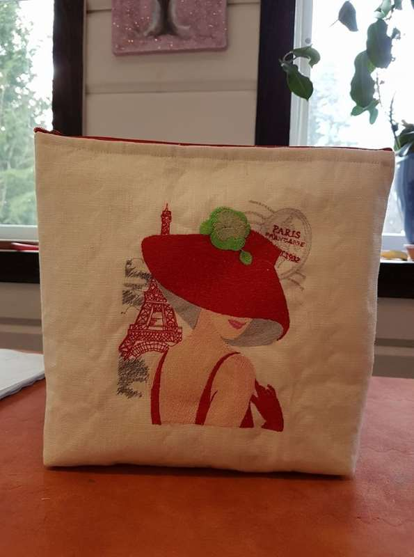 Bag with french woman free embroidery design