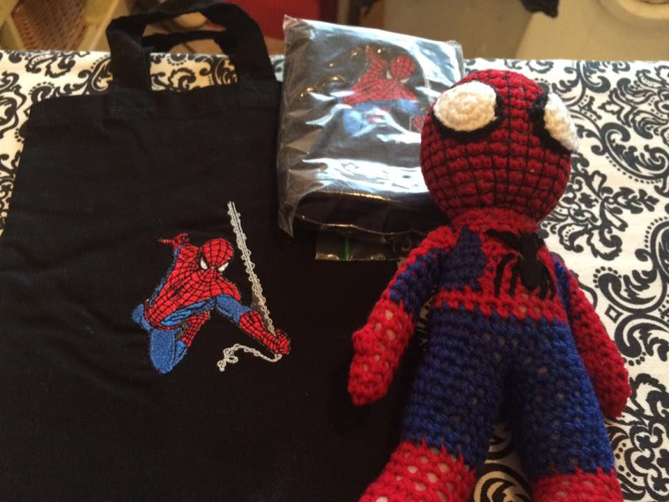 Black bag with Spiderman embroidery design