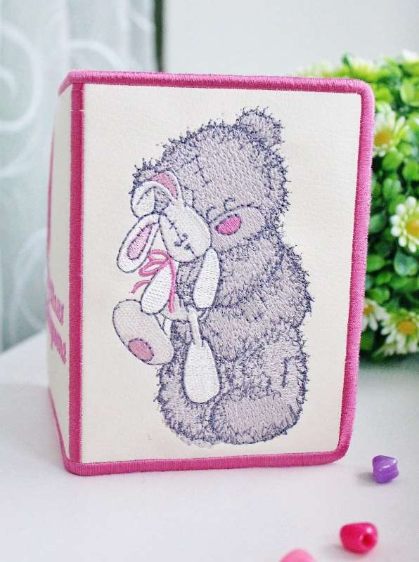 id cover with Teddy bear and toy embroidery design