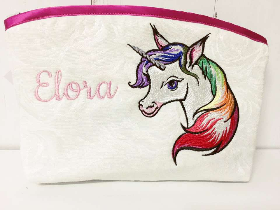 Cosmetic bag with Unicorn embroidery design