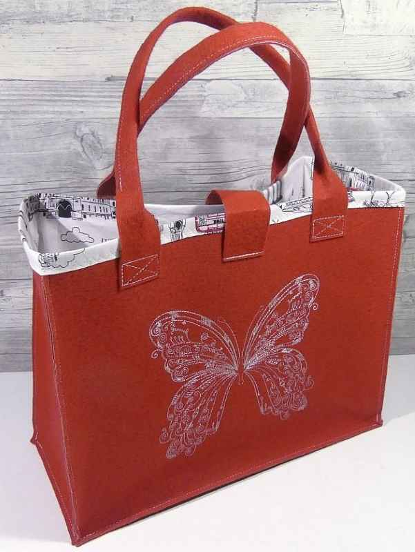 Women bag with vintage butterfly free embroidery design