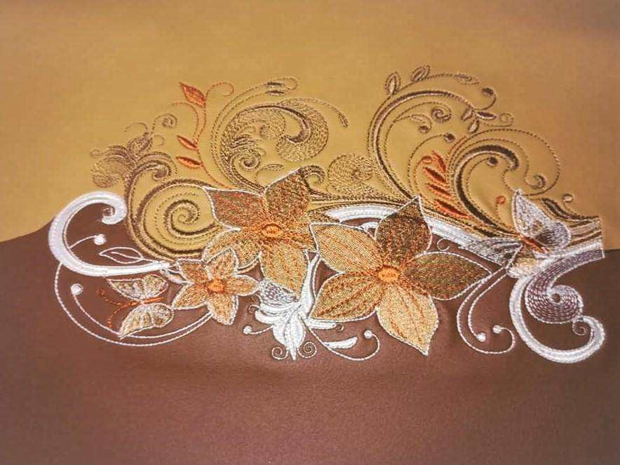 Swirl flower decoration embroidery design