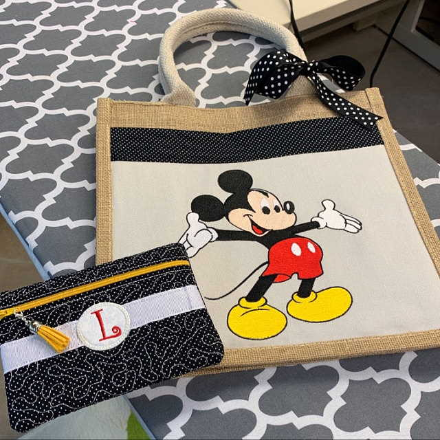 Beach bag with mickey mouse embroidery design