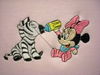 Minnie Mouse and zebra embroidered