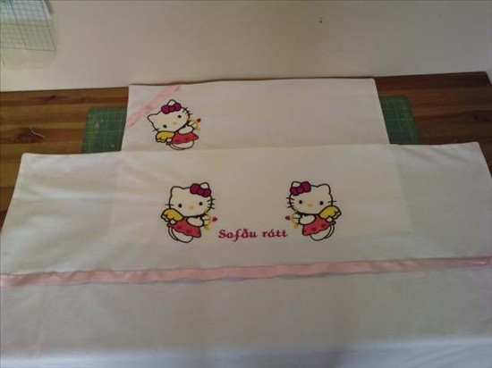 Hello Kitty cupid design on embroidered pillowcase
