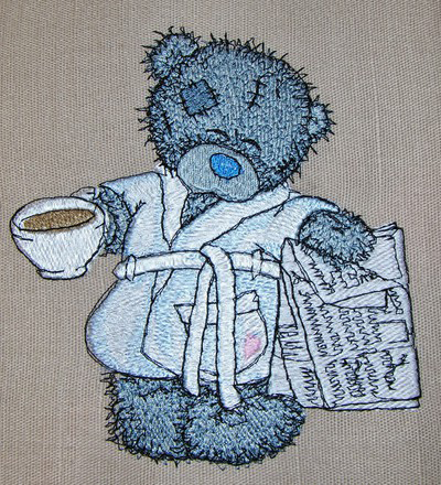Teddy bear favorite tea and evening newspaper design embroidered