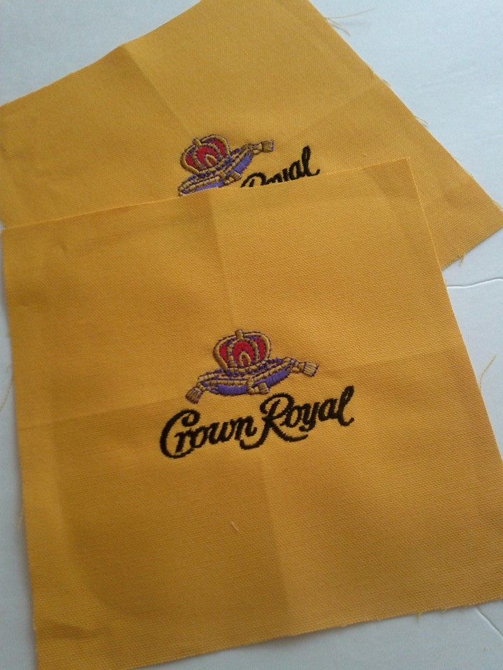 Crown Royal Maple logo on embroidered yellow pillowcase