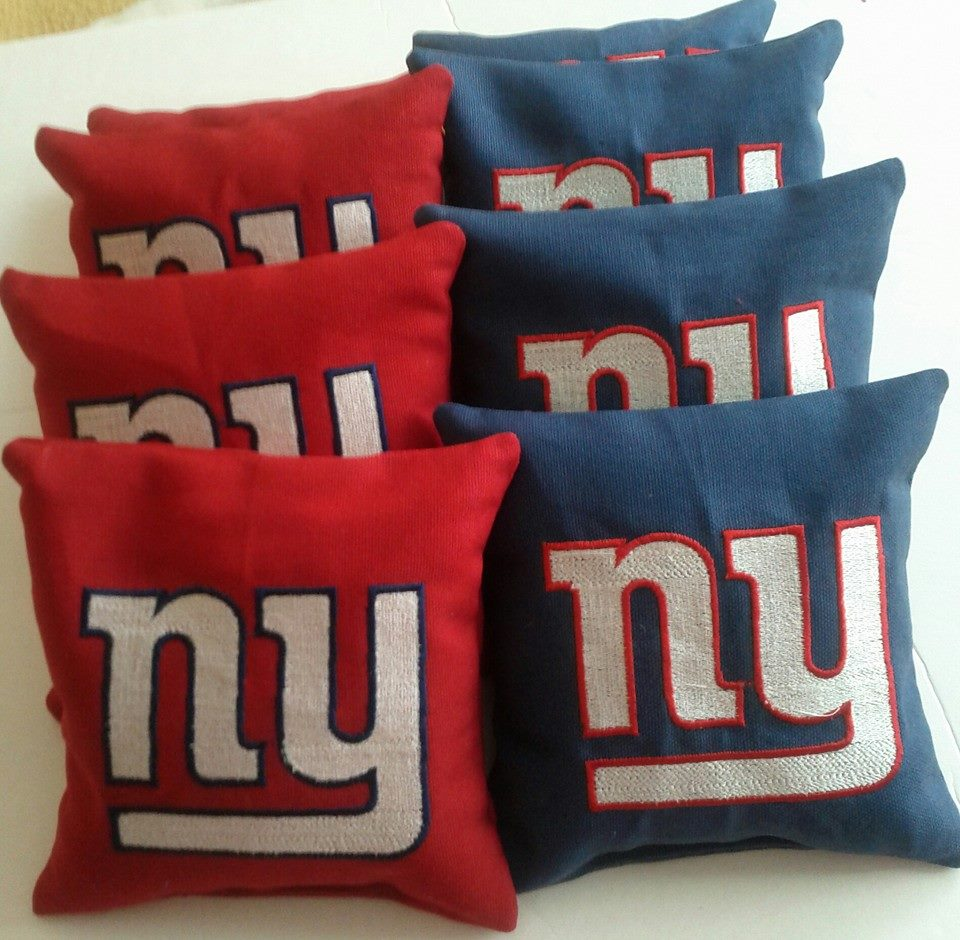 Red and blue embroidered pillowcase with New York Giants Logo