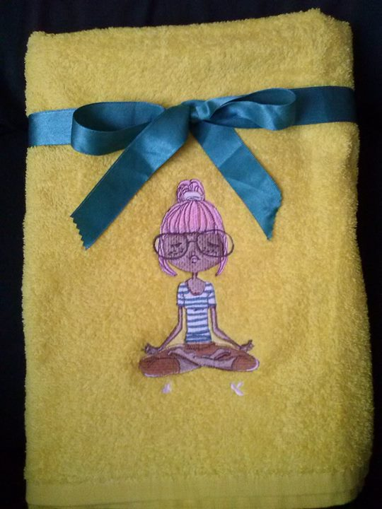 I love yoga  embroidery design on towel
