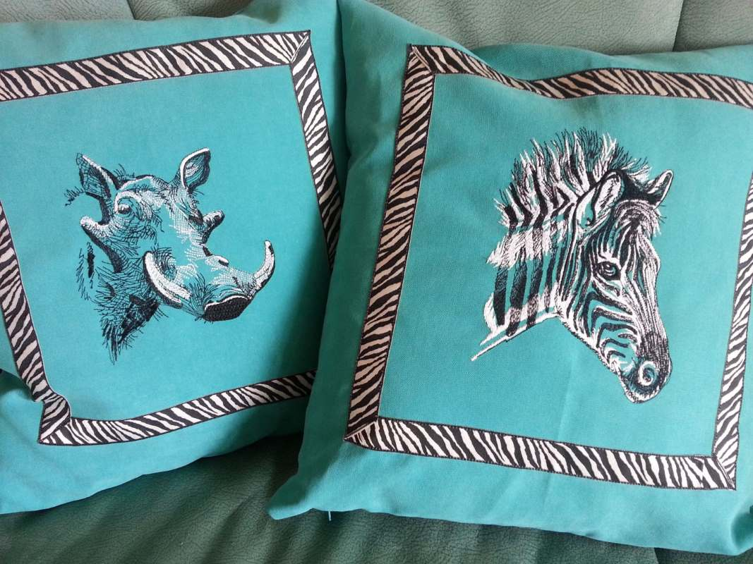 Two cushion with African animals embroidery design